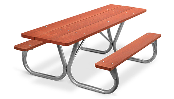 Model PC-HWR | Park Chief 8ft. Redwood Stained Picnic Table