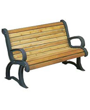 Model PC4CSS | Wooden Bench with Cast Frames (Cedar/Black)