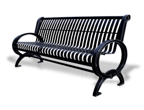 Model PC6 | Steel Slat Park Bench | Premier Classique Style (Red)