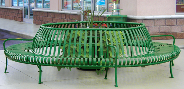 Model PCS-72-360 | Premier Circular Tree Bench (Forest Green)