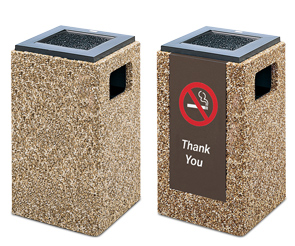 Model PCS20L | Aggregate Trash Receptacle (Painted Bronze Lid/River Rock Aggregate), Model PCS20I | Aggregate Trash Receptacle (Painted Bronze Lid/River Rock Aggregate/#33 Message Panel Insert)