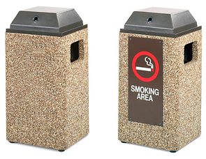 Model PCS20LAC | Aggregate Trash Receptacle (Painted Bronze Lid/River Rock Aggregate), Model PCS20IAC | Aggregate Trash Receptacle (Painted Bronze Lid/River Rock Aggregate/#36 Message Panel Insert)