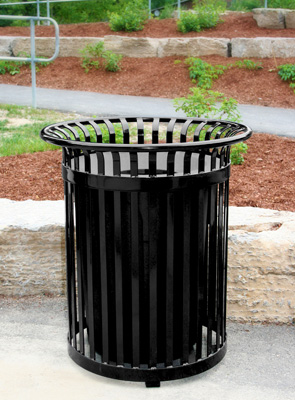decorative outdoor garbage cans. Model PFT34 EV  34 Gallon Outdoor Trash Can Premier Series Black Belson Outdoors