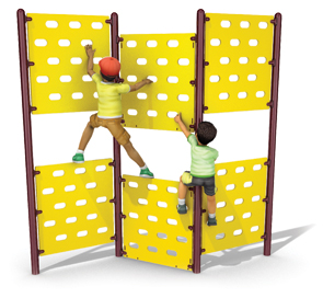 Model PGC-CTP-35 | Triple Panel Climber Play Component (Yellow/Brown)