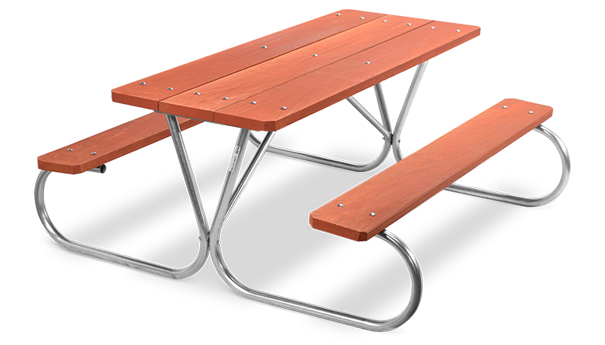 Model PK-6WR | Park King 6ft. Redwood Stained Southern Yellow Pine Picnic Table with Galvanized Frame