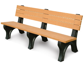 Model PLD6WB-P | 6' Recycled Plastic Engraved Bench | with Back