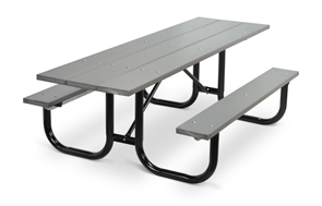 Model PC-HPWW | Park Master 8ft. Recycled Plastic Picnic Tables (Gray) with Black Enamel Frame