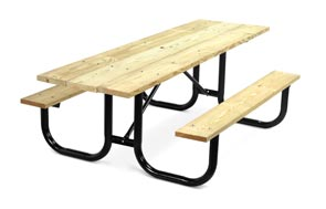 Model PMB-HWA | Park Master 8ft. MCA Treated Picnic Table with Black Enamel Frame