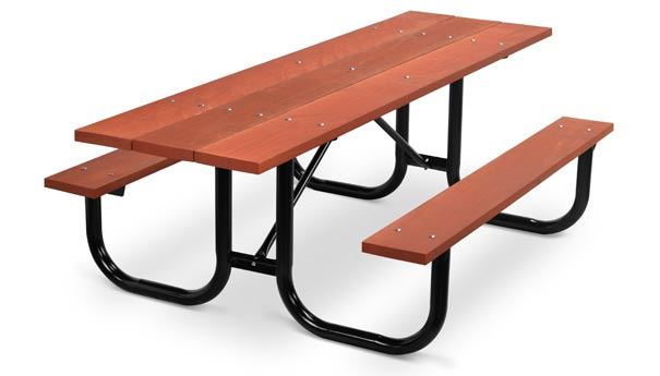 Model PMB-HWR | Park Master 8ft. Redwood Stained Picnic Table with Black Enamel Frame