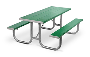 Model PMG-6AG | Park Master 8ft. Aluminum Picnic Tables (Kelly Green) with Hot-Dipped Galvanized Frame