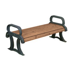 Model PP4CBS | Backless Wood Bench | Wood Collection with Cast Frames (Pau Lope/Black)