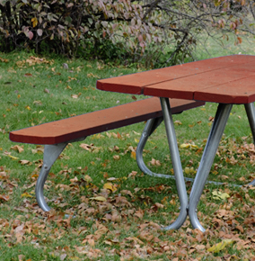 Park Ranger Rectangular Picnic Table with Redwood Stained Southern Yellow Pine Table Top and Seats