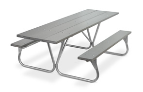 Model PR-HPGY | Park Ranger 8ft. Recycled Plastic Picnic Table with Galvanized Frame (Gray)