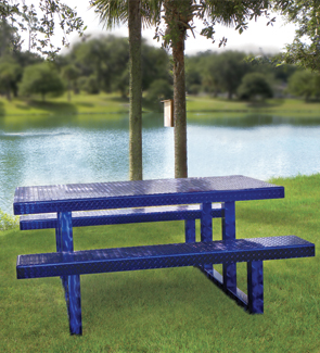Model PRTD-872N | Rectangular Diamond Plate Portable Picnic Table (Venice/Diamond Plate Top/Seats | Swirl Frame)