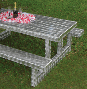 Rectangular All Aluminum Picnic Table with Swirl Texture