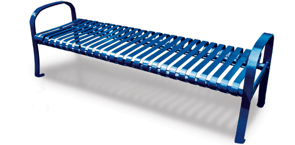 Model PSB6 | Ribbed Steel Backless Bench | Premier Serenity Style (Blue)