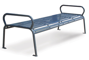 Model PVSB6 | Horizontal Steel Slat Backless Benches | Parkview Style (Silver)