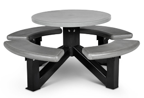Model R-S-OTS | Round Concrete Picnic Table with Powder-Coated Steel Frame (Dove Gray/Bike Black)