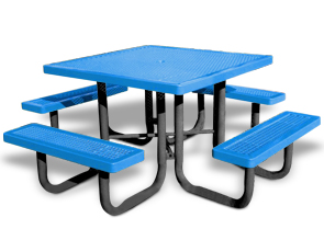 Model R46HD P | Thermoplastic Portable Square Table (Light Blue/Black)