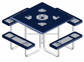 Model R46SS-P | Thermoplastic Coated Expanded Steel Portable Square Table (Mariner/Black)