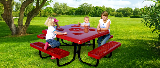 Model R46SSK P | Kids Picnic Table | Traditional Style (Red/Black)