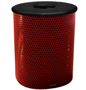 Model R55TR | Model R55BT | Thermoplastic Coated Trash Receptacle | Expanded Steel (Red)