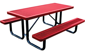Beau Model R6 P | 8ft Thermoplastic Traditional Picnic Table (Red/Black)