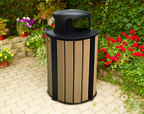 Model RB32-R-ST | 32 Gallon Round Recycled Plastic Trash Receptacle (Cedar/Black)
