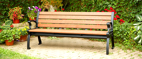 Model RB6WB-P | Recycled Plastic Bench with Back and Arms (Cedar/Black)