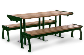 Model RB8-S | 8ft Recycled Plastic Picnic Table with Aluminum Frame (Cedar/Green)