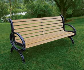 Model RC6 | Recycled Plastic Bench with Cast Aluminum Frame
