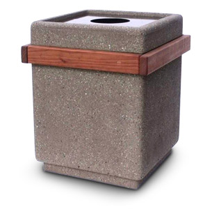 Model RDTC-24 | Square Concrete Trash Receptacle with Cedar Slats and Fiberglass Lid