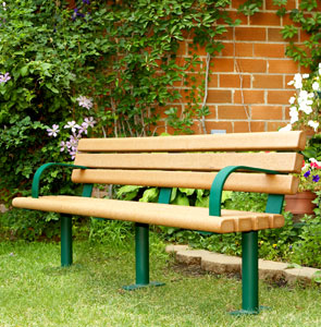 Model RP6WB-S | Recycled Plastic Bench (Cedar/Green)