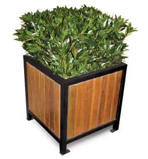 Model RPP24 | Wood Slat Planters | Regency Style (Cedar/Black)