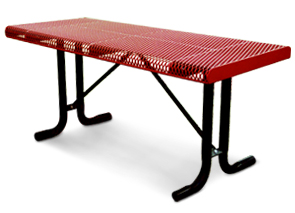 Model RRT6-P | 6 ft. Thermoplastic Coated Rolled Expanded Steel Table (Red/Black)
