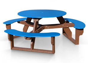 Model RT-100 | Recycled Plastic Picnic Table (Blue/Brown)