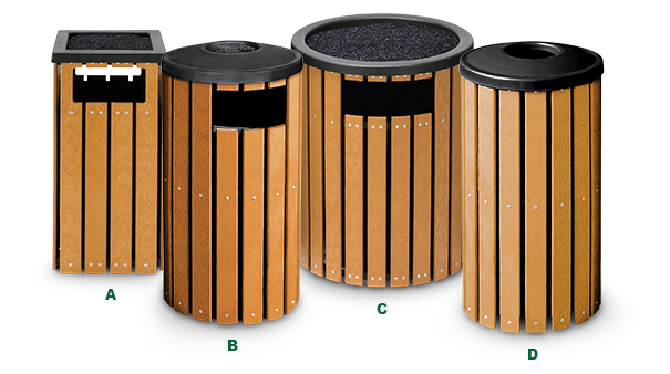 Recycled Plastic Ash and Trash Receptacles Group