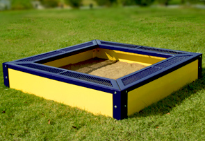 Model SANDBOXSQ | Thermoplastic Coated Commercial Sandbox for Kids (Mariner/Yellow)