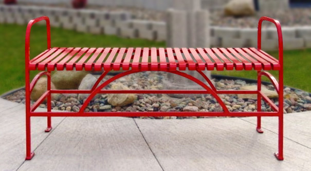 Model SFB48 | Summerfield Series Powder-Coated Steel Flat Bench (Red Wagon)