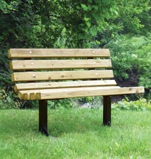 Wooden park benches front