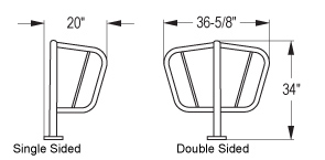 Quick Dimensions of Surface Mounted Spartan™ Bike Rack