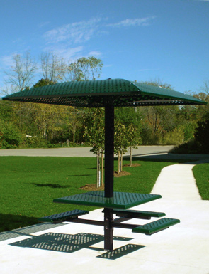 Model SPS-APS | Square Pedestal Picnic Table with Shade Canopy (Forest Green)