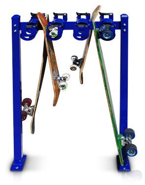 Model SRS-DBL-8-SF-P | Skateboard Security Rack (Patriot Blue)