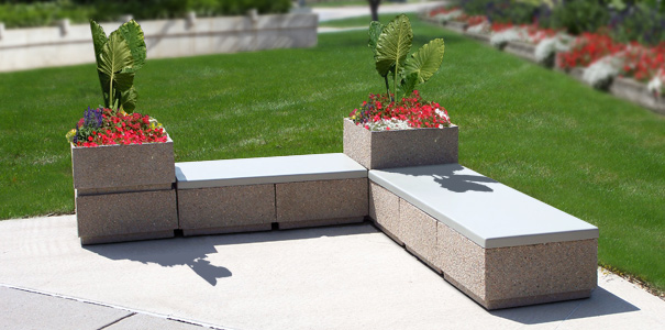 Modular Concrete Bench and Stackable Planter and Waste Receptacle Sections