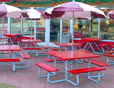 Square Aluminum Picnic Table Metal Picnic Tables Belson Outdoors - Metal picnic table with umbrella
