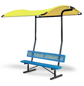 Canopy Shade Bench Attachment Shown Attached to Bench
