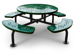 Model SXR-4PS-S | Round Surface Mounted Picnic Table with Umbrella Hole (Black/Forest Green)