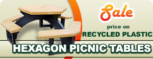 Sale on Recycled Plastic Hexagon Picnic Tables