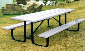 Model S8-P | Traditional Thermoplastic Solid Plank Picnic Tables (Gray/Black)