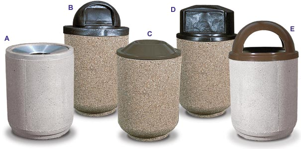 Lovely Round Concrete Trash Receptacles Collection